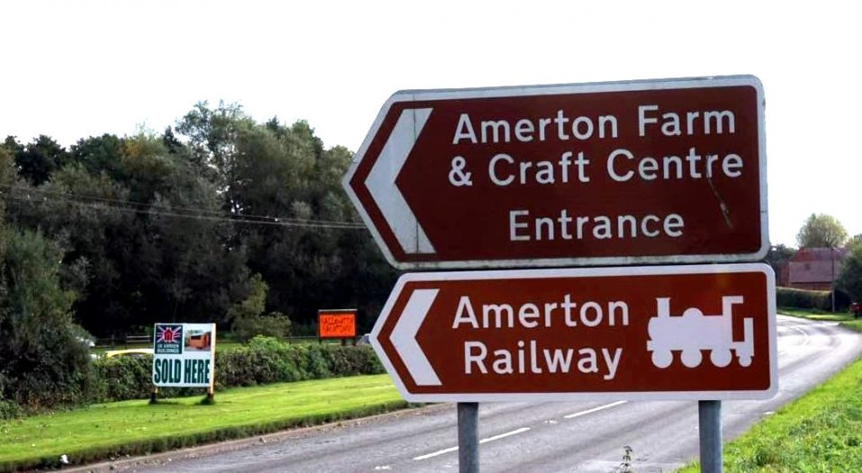 Amerton Railway Brown Sign
